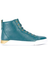 Diesel Lace Up Hi Top Sneakers Men Calf Leather Polyester Foam Rubber 43 Green