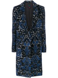 Femme By Michele Rossi Embroidered Single Breasted Coat Cotton Acrylic Polyamide Wool Blue