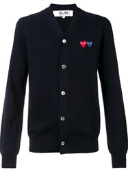 Comme Des Garcons Play 'Double Heart' Cardigan Blue