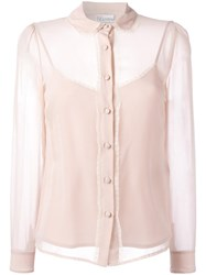 Red Valentino Lace Edging Sheer Shirt Pink Purple