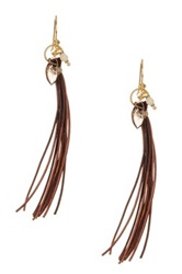 Robindira Unsworth Jewelry 22K Gold Vermeil Smokey Quartz White Opal And Leather Fringe Dangle Earrings