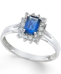 Macy's Sapphire 5 8 Ct. T.W. And Diamond 1 5 Ct. T.W. Ring In 14K White Gold Blue