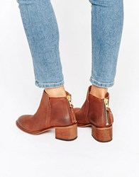 Office Amends Back Zip Leather Heeled Ankle Boots Brown Leather