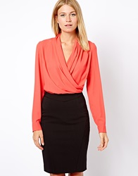 Mango Wrap Drape Front 2 In 1 Dress Coral