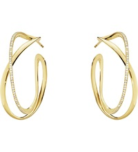 Georg Jensen Infinity 18Ct Yellow Gold And Diamond Hoop Earrings