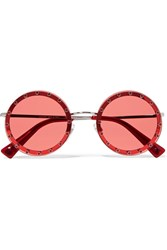 Valentino Crystal Embellished Round Frame Acetate Sunglasses Red Gbp