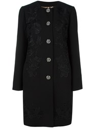 Dolce And Gabbana Floral Embroidered Coat Black