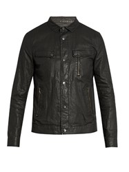 John Varvatos Distressed Washed Linen Jacket Black