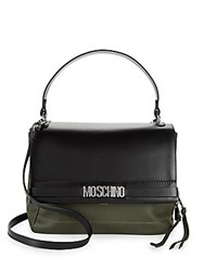 Moschino Leather Satchel Black Green