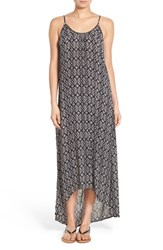 Junior Women's Sun And Shadow Print High Low Maxi Dress