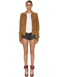 Zadig And Voltaire Suede Leather Jacket Caramel
