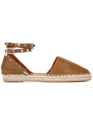 Valentino Studded Espadrilles Brown