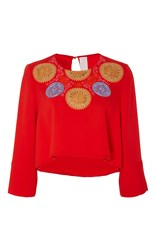 Peter Pilotto Red Embroidered Athena Cropped Blouse