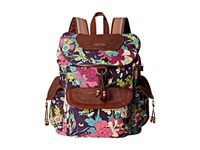 Sakroots Artist Circle Flap Backpack Violet Flower Power Backpack Bags Brown