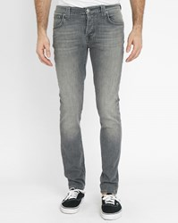 Nudie Jeans Grey Grim Tim Fitted Straight Cut Jeans