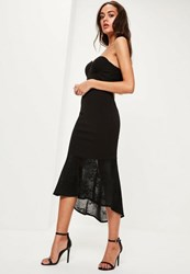 Missguided Black Crepe Sweetheart Neck Lace Fishtail Midi Dress