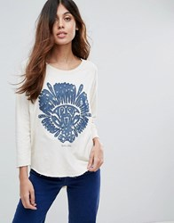 Maison Scotch Print Sweat 05 Ecru Cream