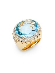 John Hardy Bamboo Blue Topaz White Sapphire And 18K Yellow Gold Ring Gold Blue