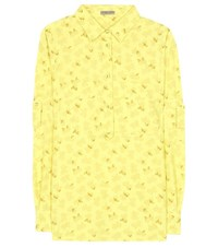 Bottega Veneta Cotton And Linen Printed Shirt Yellow