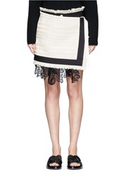 Sacai Guipure Lace Summer Tweed Mock Wrap Skirt White
