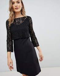 Zibi London 3 4 Sleeve Lace Shift Dress Black