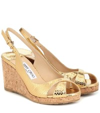 Jimmy Choo Amely 80 Leather Wedge Sandals Gold