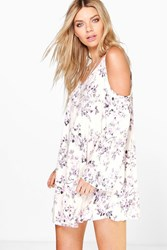 Boohoo Cold Shoulder Floral Print Swing Dress Pink