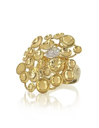 Orlando Orlandini 18K Yellow Gold Large Bouquet Ring W Diamond