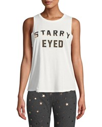 Spiritual Gangster Starry Eyed Graphic Muscle Tank White