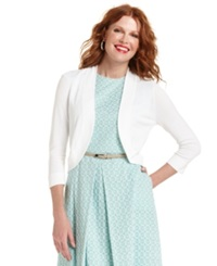 Jessica Howard Petite Sweater Three Quarter Sleeve Cardigan White
