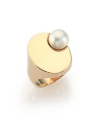 Maison Martin Margiela Faux Pearl Signet Ring Gold