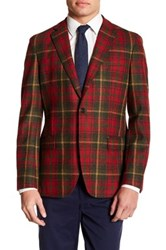 Brooks Brothers Notch Lapel Front Three Button Plaid Wool Jacket Red