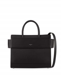 Givenchy Horizon Small Matte Leather Satchel Bag Black Black Red