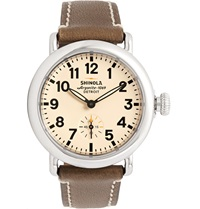 Shinola The Runwell Stainless Steel And Leather Watch 36Mm Brown