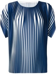Stefano Mortari Pleated T Shirt Women Polyester 42 Blue