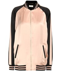 Saint Laurent Oversized Teddy Baseball Satin Jacket Pink