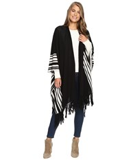 Bcbgeneration Stripe Cozy Oversized Ruana Black Women's Clothing