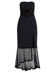Jonathan Simkhai Lace Trimmed Fluted Hem Cady Dress Navy Multi