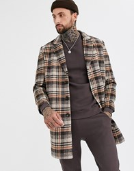 Only And Sons Check Overcoat In Brown