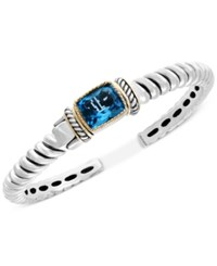 Effy Final Call By Blue Topaz Cuff Bracelet 7 5 8 Ct. T.W. In Sterling Silver And 18K Gold