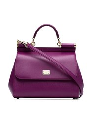 Dolce And Gabbana Purple Sicily Medium Leather Tote Bag Pink And Purple