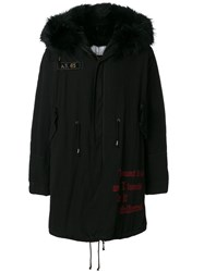 As65 Embroidered Parka Cotton Leather Rabbit Fur Viscose Black