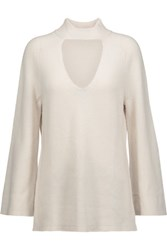 Halston Heritage Cutout Wool And Cashmere Blend Turtleneck Sweater Off White