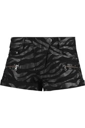 Balmain Coated Stretch Denim Shorts Animal Print