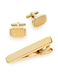 Lotus Cuff Links And Tie Bar Set Gold