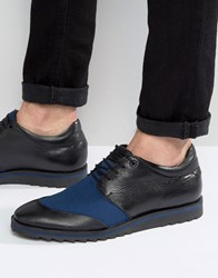 Asos Derby Shoes In Black Leather With Navy Mesh Black