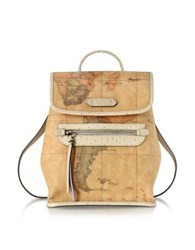 Alviero Martini 1A Classe Australia Geo Printed Backpack W Cream Ostrich Print Leather Details