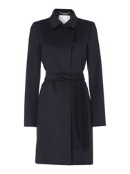 Hugo Boss Canika1 Belted Luxe Wool Coat Blue