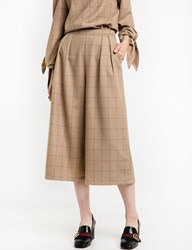 Pixie Market Brown Plaid Check Crop Culottes