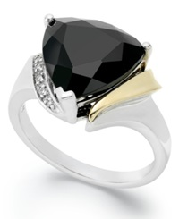 Macy's 14K Gold And Sterling Silver Ring Faceted Onyx 6 Ct. T.W. And Diamond Accent Ring